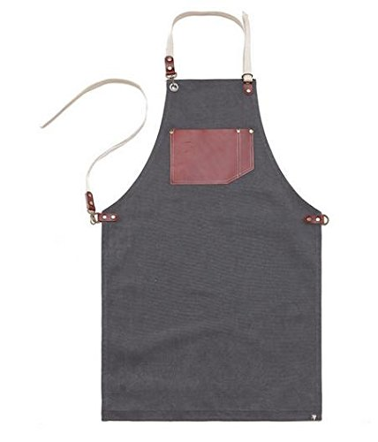 Premium Gift for Woman and Man Chef Works Handmade Apron Japanese Cross Back - Vintage Real Cow Leather Apron Grey by cozymomdeco