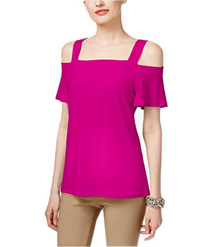 INC International Concepts Women's Popsicle Cold-Shoulder Top (Magenta Flame, - Magenta International