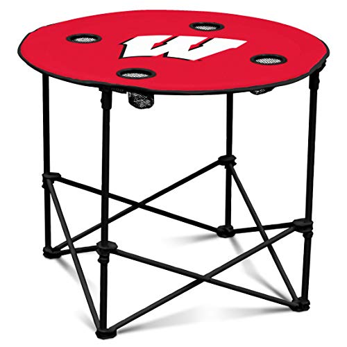 (Wisconsin Badgers Collapsible Round Table with 4 Cup Holders and Carry Bag)