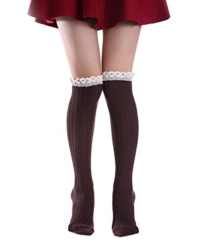 Maybest-Women-Crochet-Lace-Trim-Knit-Leg-Warmers-Boot-Knee-High-Socks