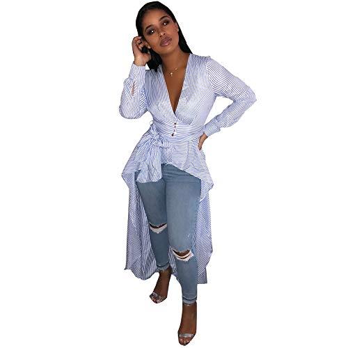 WFL Tee-Shirt Manches Longues Rayures Longues Manches Longues Rayure et bleu