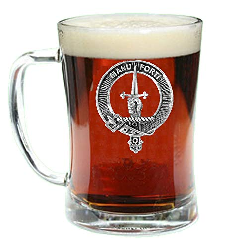 (MacKay Scottish Clan Crest Badge Glass Beer Mug)