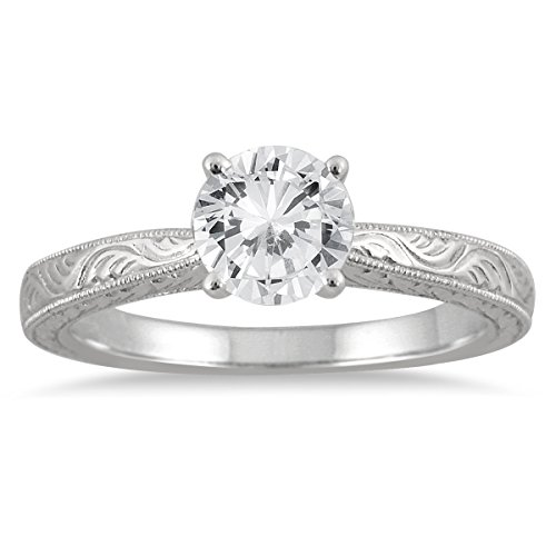 AGS Certified 1 Carat Diamond Solitaire Engraved Ring in 14K White Gold (J-K Color, I2-I3 Clarity)