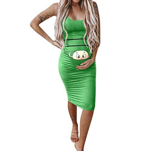 (Maternity Baby Peeking Dress Funny Pregnancy Cute Announcement Bodycon Pregnancy Dresses Green)