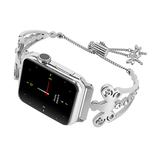 Kybers Compatible for Apple Watch 4/3/2/1 42/44mm - Glliter Stainless Steel Exquisite Rhinestone Bracelet Replacement Metallic Drilled Wrist Strap Bracelet for Apple Watch 4/3/2/1 42/44mm