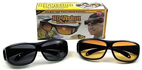 9a7523584bc4 Image Unavailable. Image not available for. Colour  GosFrid Combo Pack of HD  Wraparounds Sunglasses and Night Vision Glasses (Black)