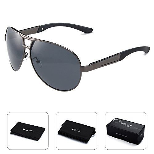 WELUK Mens Aviator Sunglasses Polarized Oversized Wide Frame UV400 for Driving