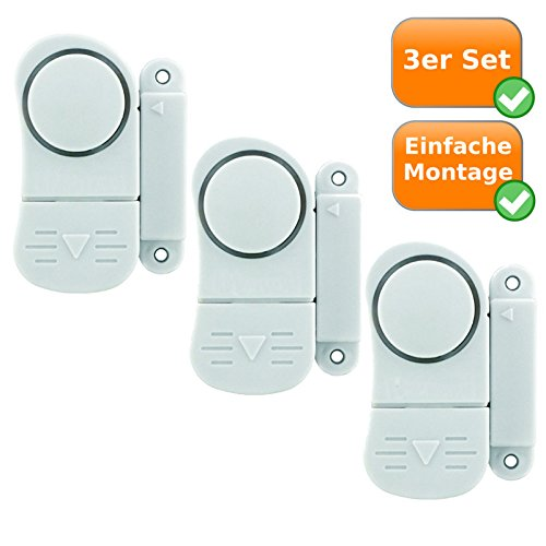 3er Set Mini Alarmanlagen, sichert Fenster und Türen, Alarmauslösung durch Magnetkontakt, kabellos