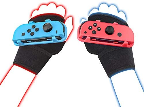 LeyuSmart Wrist Strap for Just Dance 2021 2020, Compatible with Nintendo Switch Dancing Game Accessories, Kids Size Hand Free Wristband for JoyCon Grip (Red+Blue)