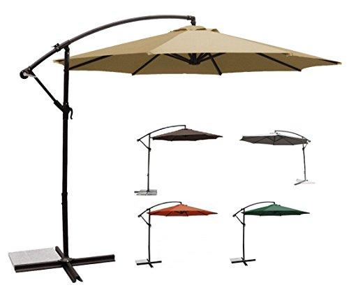 USH Deluxe 10 Ft Offset Cantilever Hanging Patio Umbrella Freestanding Outdoor Parasol Adjustable Market Umbrella, 250g/sqm Polyester (Sand)