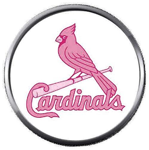 (Pink St Louis Cardinals MLB Baseball Logo 18MM - 20MM Snap Jewelry Charm)