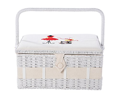 Vintage Sewing Basket Organizer Box Kit with Hand Sewing Supplies and Notions, Rectangular Shaped, 13 x 9 x 6 Inches (Sewing Box With Accessories)