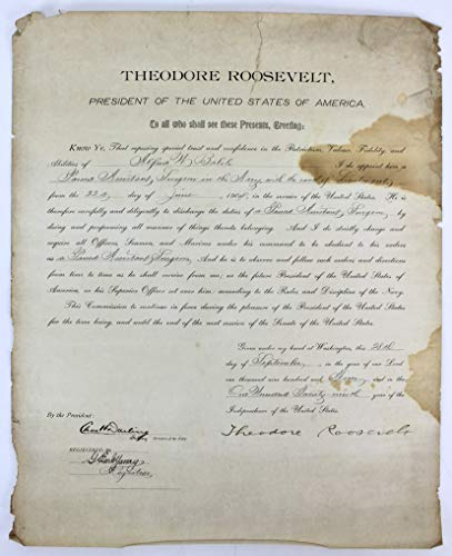 - Theodore Roosevelt Signed 16x20 1904 Military Appointment Document BAS #A79372
