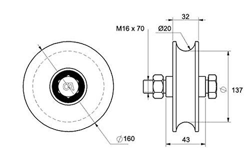 Laufrolle Rundnut /Ø 160 mm