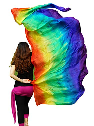 Rolled Edge Veil - Winged Sirenny Tie-dye Stripes Belly Dance Silk Veil, Light 5mm Real Silk, 2.7m x 1.1m(3'x43