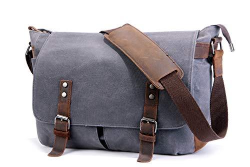 (SUVOM Mens Messenger Bag,Genuine Leather Canvas Messenger Bag,Waterproof Laptop Messenger Bag For 14 inch Laptop,Vintage Satchel Briefcase Cross Body Shoulder Bag For Everyday Use,Travel,Camping )