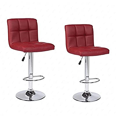 Modern Set of 2 Bar Stools Leather Adjustable Swivel Pub Chair Red