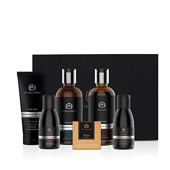 Charcoal Grooming Kit By The Man Company | Packed In Elegant Wooden Gift Box | Set Of 6 - Body Wash, Shampoo, Face Scrub