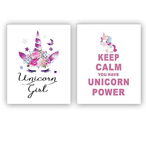 "HOME_PLAY Unicorn Art Print Set of 2 (10""X8""Keep Calm You Have Unicorn Power Art Print, Unicorn Gift for Girls,Canvas Painting Posters and Prints Wall Pictures for Kids Room Home Decor,No Frame ()"