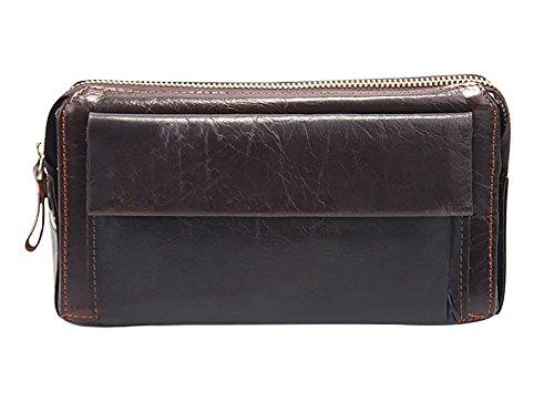 Zipper Color Genda Handbag Purse Chocolate Organizer Checkbook Wallet 2Archer Men's Genuine Leather UxnwnqfPIH