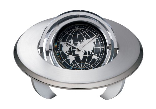 Spinning Globe Planet Clock with Personalization or Frame that holds 1 7/8 diameter photo or message. . Unique retirement gift, employee recognition or service award.