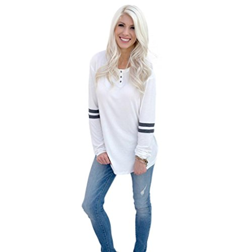 [Malltop Women Loose Long Sleeve O-Neck Button Splice Color Patch Blouse Tops T Shirt] (Male Sheep Costume)