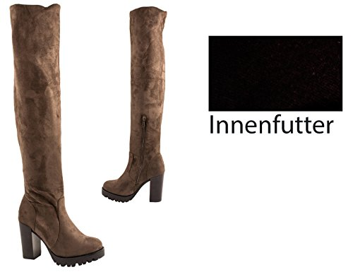 Elara Damen Stiefel | Bequeme Overknee High Heels | Blockabsatz Wildlederoptik| chunkyrayan Khaki