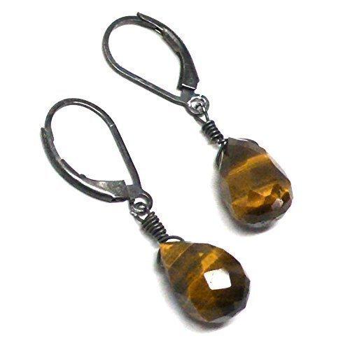 - Tiger Eye Briolette Sterling Silver Lever Back Earrings Custom