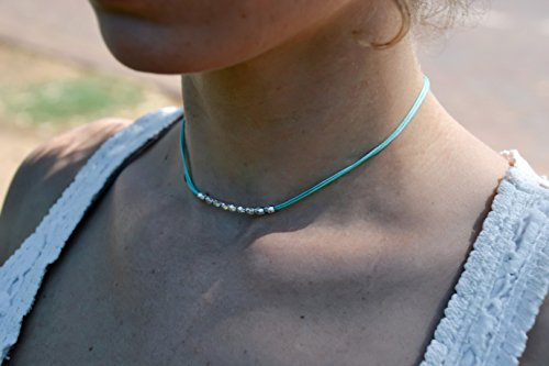 (Silver beads choker necklace, turquoise necklace, small silver beads, womens necklace, minimalist jewelry, silver cubes, gift for girlfriend)