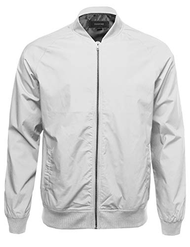 Classic Basic Style Zip Up Long Sleeves Bomber Jacket White Size L Classic Mens Leather Bomber Jackets