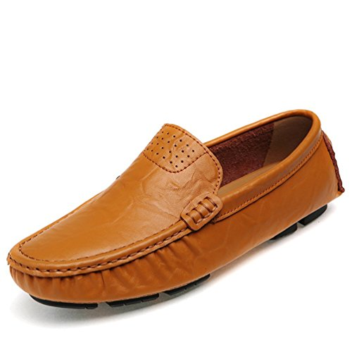 Go Tour Mens Classy Genuine Leather Fashion On The Go Driving Casual Loafers Boat shoes Orange