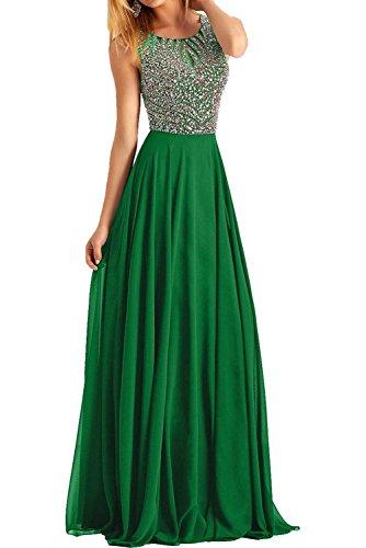 Abendkleider Formalkleider Strass Festlichkleider Partykleider Grün Ballkleider Chiffon Charmant mit Damen XHBw6qBZnE