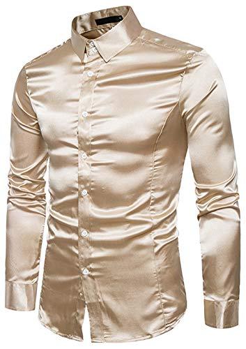 メンズ シャツ 長袖 シルク 光沢 おしゃれ サラサラ 大きいサイズ ビジネス カジュアル 衣装
