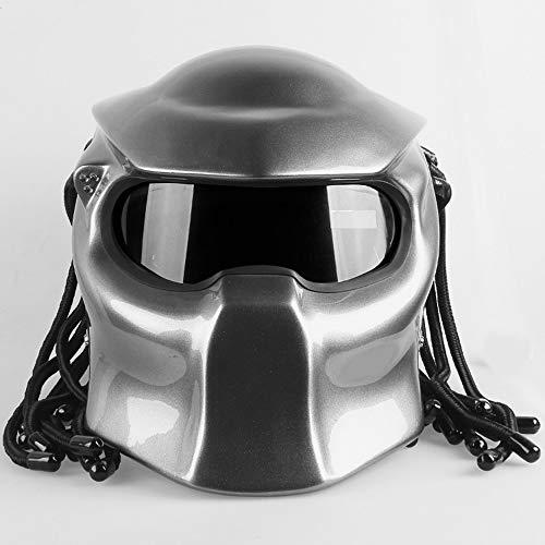 - WWtoukui Silver Cool Predator Motorcycle Helmet, Alien Warrior Mask with LED Light Four Seasons Universal Full Helmet, DOT Certified Helmet,L:57~58cm