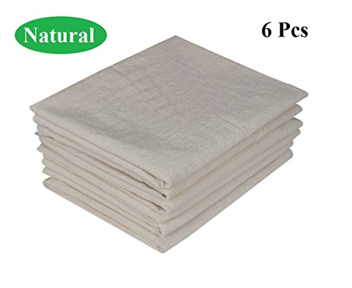 Premium Cotton flour sack towels - Natural Organic. Embossed effect on towels for High water absorbency. Easy wash and quick dry. Pack of 6