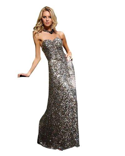 Scala Long Metallic Dress 4101, Metal, 2