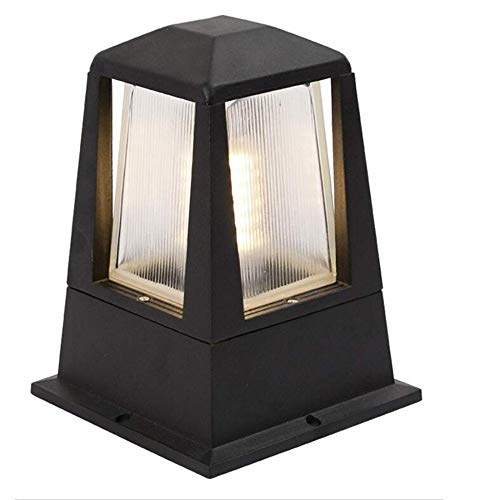 Modern LED Column Lamp Exterior Outdoor Post Lantern WithUnique Striped Glass Waterproof IP55 Outside Door Garden Head Lawn Villa Landscape Gate Wall Pillar Light (Color : Square-7W-LED)