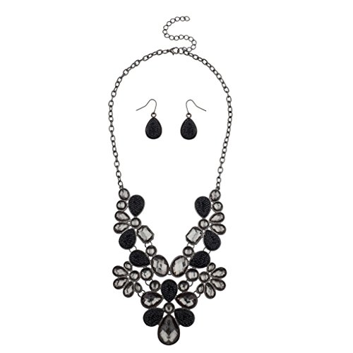 Lux Accessories Floral Flower Clear Grey Black Stone Statement Necklace Matching Earrings.