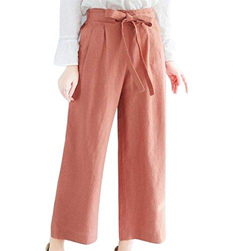 BOLAWOO Donna Pantalone Pantalone Estivi Eleganti Monocromo Cinghietti Baggy Culotte High Waist Mode di marca Fashion Ragazze Tempo Libero Pantaloni Bronze