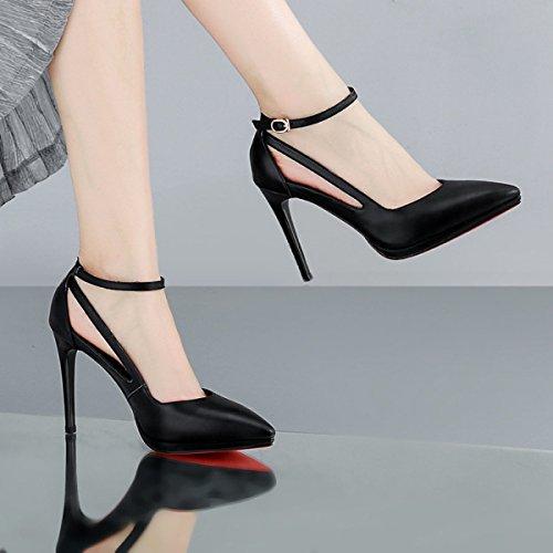 Pointu Cuir Européenne Imperméable Creux pour Talon Chaussures Sandales Chaussure Femmes Manches DKFJKI Snaggle Europe Forme Plate Haut Ultra Black CH07Ww