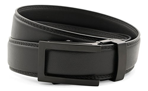 Anson Belt & Buckle - Men's Traditional Black Buckle with Black Leather Strap