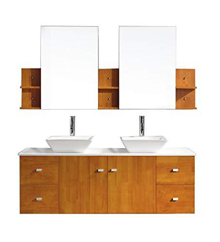 Virtu USA Clarissa 61 inch Double Sink Bathroom Vanity Set in Honey -