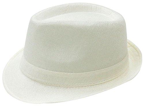 Simplicity Women Men Summer Gangster Trilby Straw Fedora Hat Cap W/ Brim, White (Gangster Woman)
