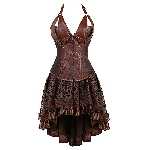 Grebrafan Women's Plus Size Steel Boned Leather Waist Trainer Halter Bustier Corset Skirt Set (US(8-10) L, Brown)