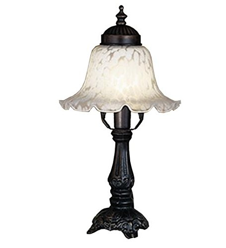Meyda Tiffany 16977 Bell Alabaster Swirl Accent Lamp, 12.5″ H, White