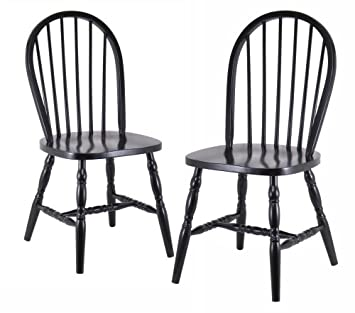 Lovely Winsome Wood Assembled 36 Inch Windsor Chairs With Curved Legs, Set Of 2,
