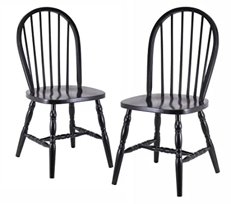 Winsome Wood Assembled 29-Inch Windsor Chairs, Set of 2, Black Finish 29237
