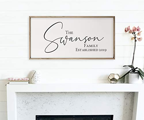 Personalized Framed Wooden Family Name Sign 9x18 ()