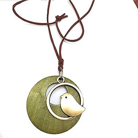 Lumanuby. 1 Pájaro de Madera Colgante Largo Collar Cadena suéter Collar de Cuero Artificial Collar Ajustable para Mujeres