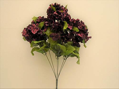 JumpingLight Burgundy Hydrangea Bush 7 Heads Artificial Silk Flowers 19'' Bouquet 730BU Artificial Flowers Wedding Party Centerpieces Arrangements Bouquets Supplies